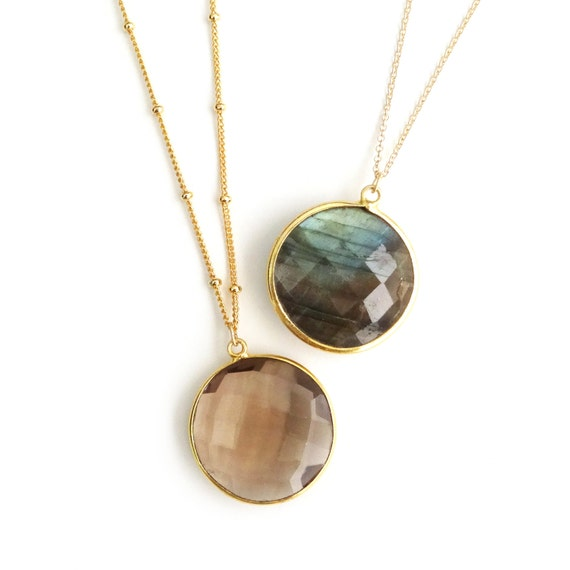 Smoky Topaz Necklace, Labradorite Necklace, Delicate Gold Necklace, Labradorite Pendant, Smoky Topaz Pendant, Satellite Chain, Gold Chain