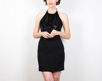 Vintage strutturato Cynthia Rowley Dress 1990s vestito nero metallico Halter Dress 90s vestito vestito scollato Micro Mini abito XS S Extra piccolo 4