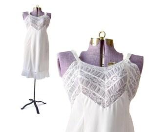 Vintage Slip 40 Full Slip  / White Slip / Lace Slip White Slip 1950s Slip / Sleepwear & Intimates / Womens Clothing Lingerie / Metal