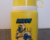 Vintage 1980s Smurf and Smurfette Thermos