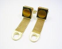 Swank Cufflinks, gold tone, Mesh Wrap Around / genuine Tiger Eye Stone / Formal Wear / Men Wedding Jewelry / Groom Best Man / Cuff Links