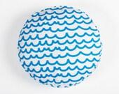 Blue Waves Circle Cushion Cover