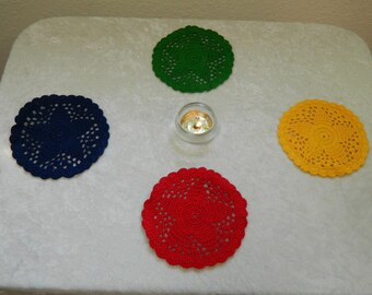 """Elemental Crocheted Doilies - 4.5"""" in diameter - 100% Cotton Handmade - Wiccan, Witchcraft, Ritual Supplies"""