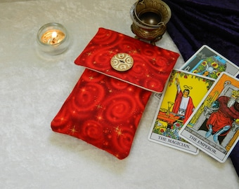 Tarot Deck Oracle Deck Bag 100% Cotton - Divination, Witchcraft, Pagan, Wicca Crystal Pendulum Bag Handmade One of a Kind