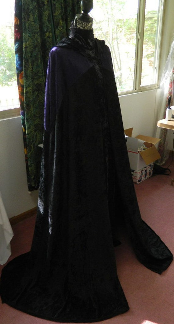 """Full Length Black and Purple Cloak - 60"""" Long - Handmade ~ Ritual Wear Witchcraft Wiccan Attire"""