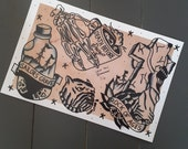 Traditional Tattoo Flash Print 12x9 Inches