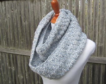 Crochet Infinity Scarf, Blue and White Crochet Scarf, Ready to Ship by CROriginals