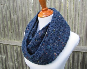 Crochet Infinity Scarf, Winter Scarf, Navy Blue Crochet Scarf, Ready to Ship  by CROriginals