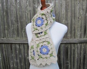 Crochet Granny Square Scarf, Women's Crochet Flower Scarf, Winter Scarf by CROriginals