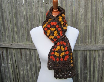 Fall Fashion Accessory, Fall Granny Square Scarf, Women's Crochet Autumn Scarf, Brown Wool Scarf, Ready to Ship by CROriginals