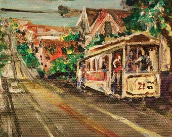 "Cable Car at Powell Street San Francisco California Painting by marinelaArt - Acrylic Fine Art Painting on 4"" x 4"" Large Canvas Paintings"