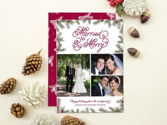 Newlywed Christmas Card, Wedding Photos Holiday Card, First Christmas Holiday Photo Card, Just Married and Merry