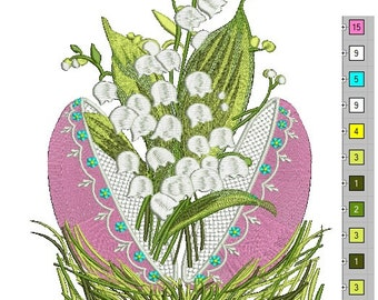 Decorative egg and lilies of the valley  Machine Embroidery Design