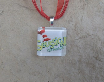 Broadway Musical Seussical Glass Pendant and Ribbon Necklace