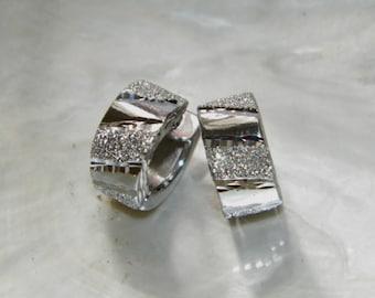Handcrafted .925 Sterling Silver Hoop Earrings Stardust &Diamond Cut Finish