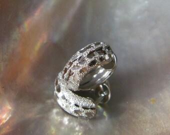 Handcrafted .925 Sterling Silver Hoop Earrings Stardust Finish &Diamond Cut