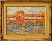 Old Bridge, Italy original oil painting landscape 12x9 framed