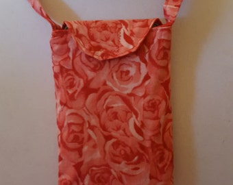 Cell Phone Holder Necklace--cotton red rose print