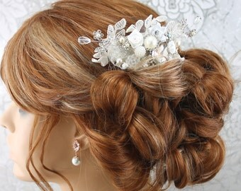Bridal Hair Comb, Wedding Hair Comb, Lace Pearl Rhinestone Bridal Comb, ridal Wedding Comb, Bridal Hair AccessoryStyle-188
