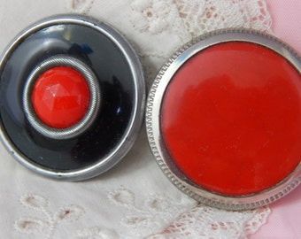 Coat Buttons with Black and Red Celluloid
