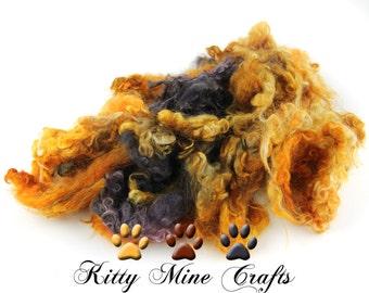 Teeswater Wool Locks from Emma - Hand Dyed Wool - Doll Hair, Spinning Art Yarn, Felting - 4-5 inches - Gold, Orange, Grey