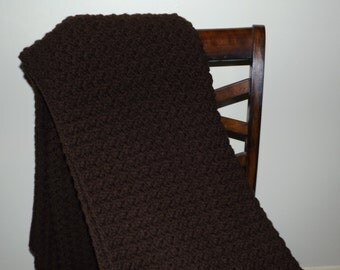 Dark Brown Crocheted Throw/Chocolate Brown Throw/Brown Crocheted Afghan/Dark Brown Crocheted Blanket/Brown Throw Blanket/Handmade Blanket
