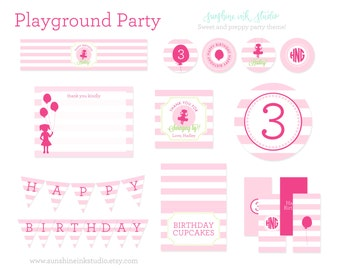 Playground Party Printable Package - Playground Birthday Party - Printable Parties for Girls