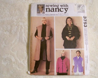 McCall's Pattern - 3753 - Sewing With Nancy - Misses' Unlined Vests And Jackets - Sizes 8-22 - Factory Fold, Uncut Pattern