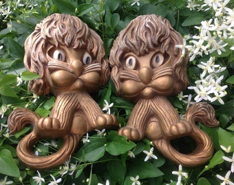 Pair of Vintage Wall Plaques  by Homco Lion Wall Plaques  Animal Wall Plaques Gold Tone Lions