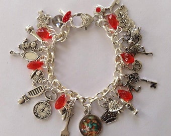 Alice In Wonderland - Queen of Hearts Edition Charm Bracelet