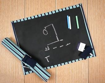 Travel Chalkboard Mat - Blue Stripe