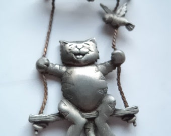 Vintage Signed JJ Silver pewter Cat on a Swing Brooch/Pin