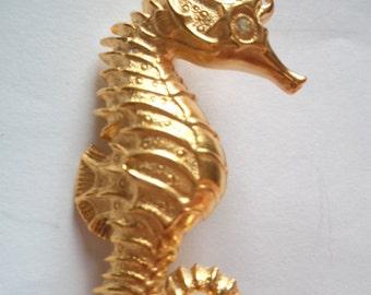 Vintage Signed JJ  Goldtone Seahorse Brooch/Pin