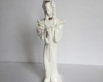 Vintage Mid Century Blanc de Chine Style Figurine Statue