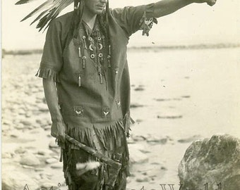 Indian Native American w axe antique ethnic photo