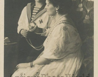 Russian Royal family Czarina Alexandra Fedorovna w son Alexei antique rppc