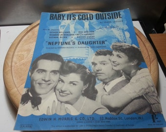 Baby its cold outside, Frank Loesser, Neptunes' Daughter, vintage music sheet, 1949
