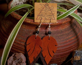 Leather Feather Earrings with Lava Rock