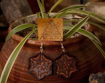 Leather Mandala Earrings