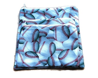 Reusable Sandwich Snack Bags  Zipper Baseball set of 3 White
