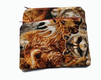 Reusable Snack Bags set of 2 Zipper Woodland Animals Deer Moose Raccoon Wolf Brown Gray Black
