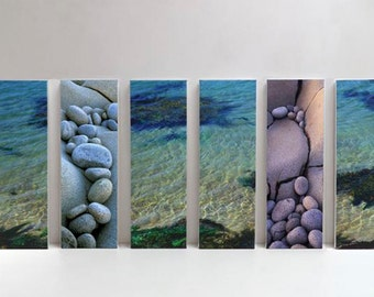 6 set canvas size 60 x 120 cm (overall size) of sea in Brittany, France. Photograph from the www.fjpicture.com collection