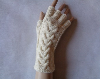 Handknitted cream color women fingerless gloves / wrist warmers with cables