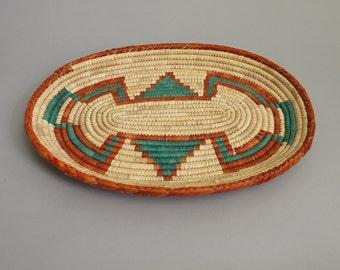 Vintage Southwestern Low Basket // south western style teal orange storage coil shallow straw tray