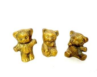 Brass Bears Teddy Bears Set of 3, Three Bears, Bear Figurines, Statues, Bear Lovers Collectors, Baby Gift, Nursery Decor