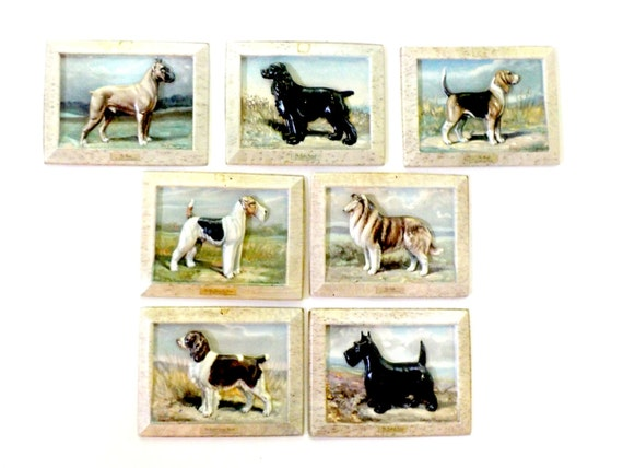 Dog Breed Plaques, for Ken L Ration by Artist Edwin Megargee, Advertising Premium for Ken L Ration,1950 Mid Century