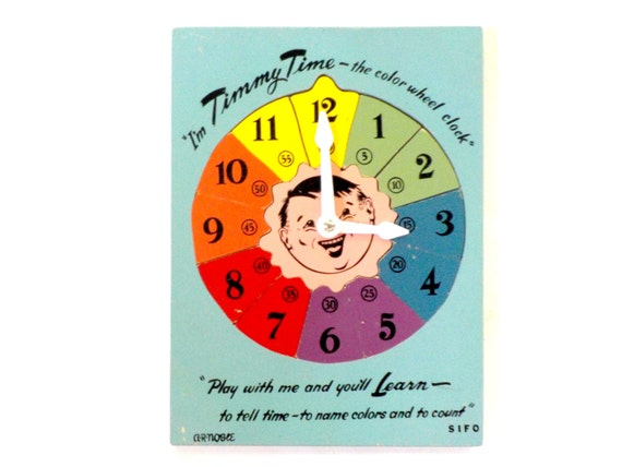 Educational Toy, Timmy Time, The Color Wheel Clock, Learn to Tell Time, Home Schooling, Mid Century Toy Clock, Clock Puzzle, 1950s
