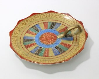 Gorgeous, colorful trinket dish with handle, Made in Japan