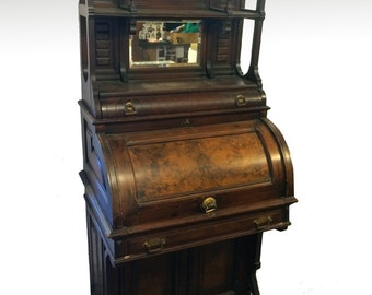 17505 Rare Victorian Cylinder Davenport Gallery Top Desk