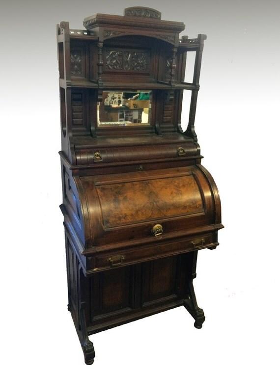17505 Rare Victorian Cylinder Davenport Gallery Top Desk